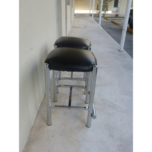 1970's Backless Chrome Bar Stools - a Pair For Sale - Image 4 of 10