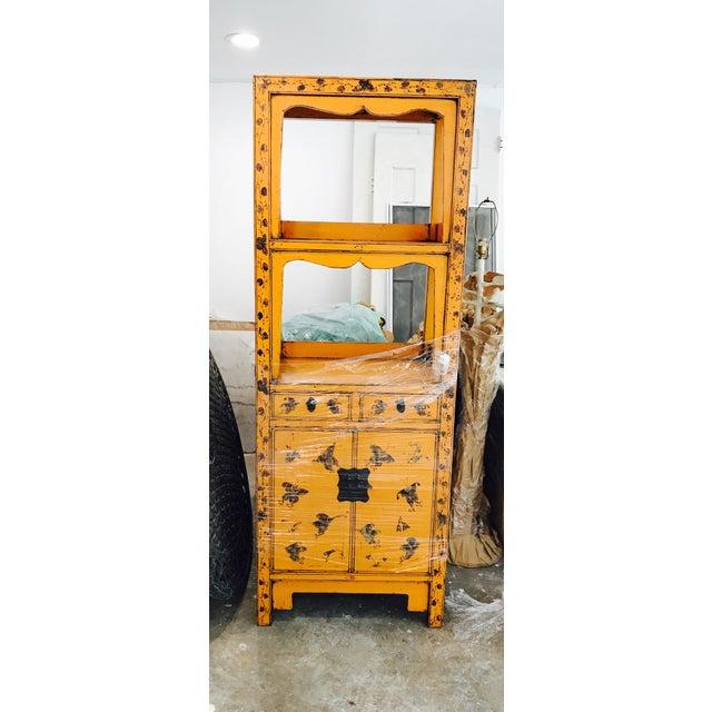 Vintage Tangerine Butterfly Motif Display Cabinet - Image 3 of 3