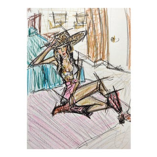 Color Pencil Sketch of Girl With a Cowboy Hat on A4 Hahnemühle Paper by Shirin Godhrawala ,2020 For Sale
