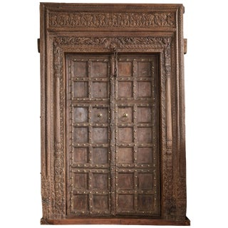 Early 19th Century Carved Metal Studded Grand Entry Door For Sale