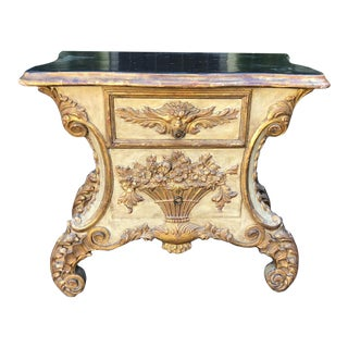 Carved Venetian Gilt-Wood Designer Commode Side Table by Charles Pollock For Sale