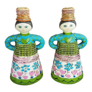 Vintage Figural Paper Mache Candle Holders - A Pair