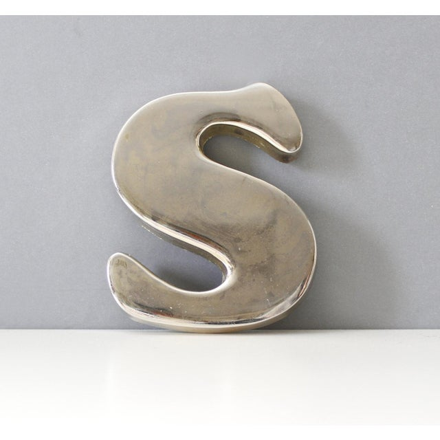 Vintage Chrome Letter S Paperweight Typography Office Decor - Image 2 of 6