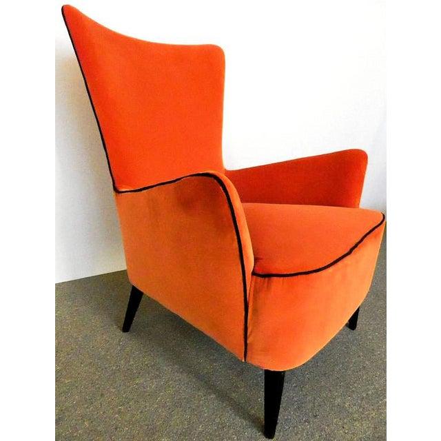 Baroque Pair of Italian Mid Century Modern Reupholstered Orange Velvet Armchairs, 1960s For Sale - Image 3 of 8