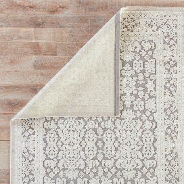 Contemporary Jaipur Living Regal Damask Gray/ White Area Rug - 9′ × 12′ For Sale - Image 3 of 6