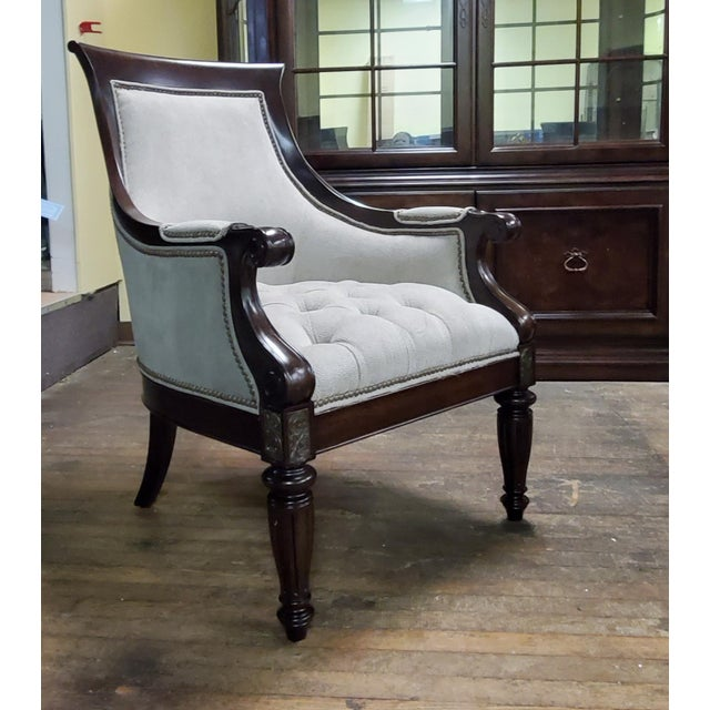 Thomasville Furniture Ernest Hemingway Anson Tufted & Leather Accent Chair For Sale - Image 13 of 13