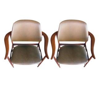 Pair of Danish 1960s Teak Armchairs, Leather Upholstery, by Arne Hovmand-Olsen For Sale