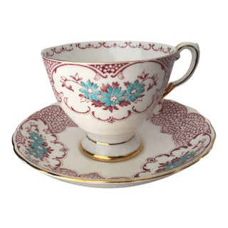 Floral Fine English Bone China Tea Cup & Saucer For Sale