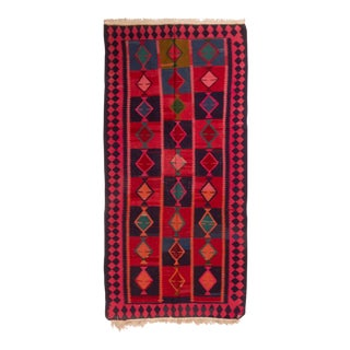 Contemporary Geometric Red Wool Kilim Rug - 4′7″ × 9′11″ For Sale