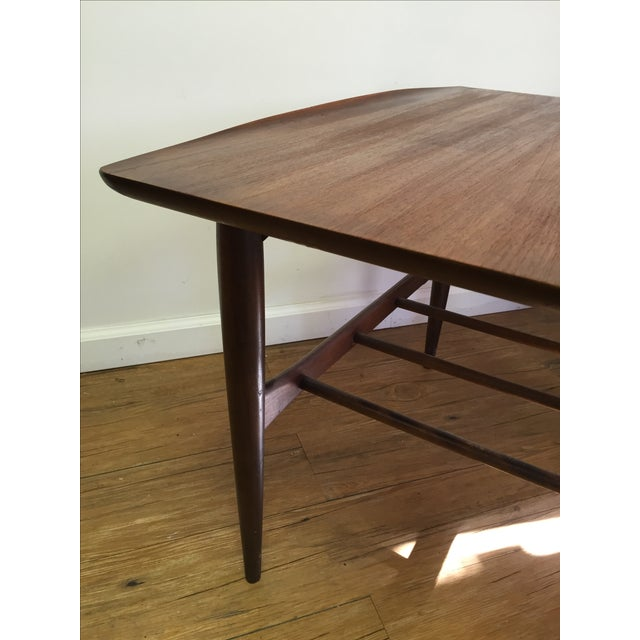 Bassett Mid-Century Two Tier Walnut Surfboard Side Tables - Pair - Image 8 of 11
