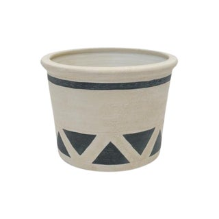 Large Black & White Matte Glazed Jardiniere/Planter For Sale