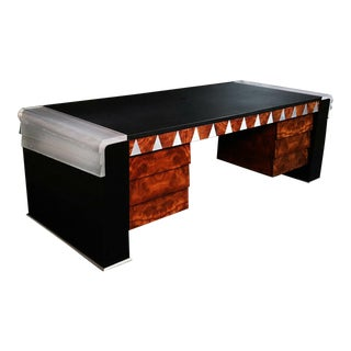 Signed Vladimir Kagan Inlaid Art Deco Executive Desk For Sale