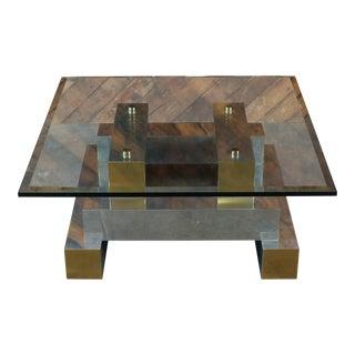 Paul Evans Style Vintage Chrome & Brass Coffee Table