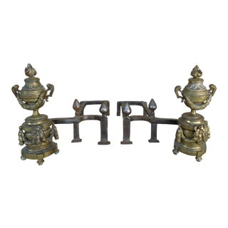 Antique Brass Urn & Flame Andirons - A Pair For Sale