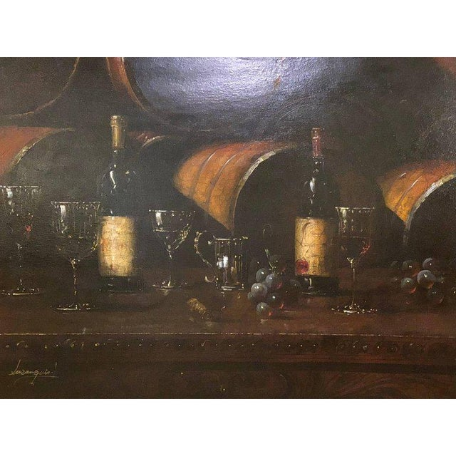 Canvas Bartolome Luzanquis Oil on Canvas Still Life of Wine Bottles With Glasses For Sale - Image 7 of 8