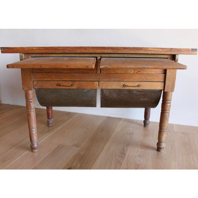 Antique Early 20th Century Primitive Shaker Farmhouse Dining Table Possum Belly Baker's Table Kitchen Island For Sale - Image 4 of 12
