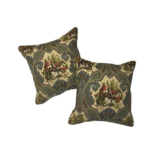 French Horse Jockey Pillows - Pair For Sale
