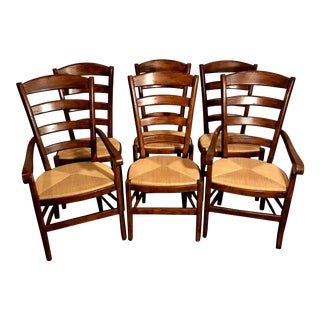 Vintage Italian Hardwood Rush Seat Dining Chairs - Set of 6 For Sale