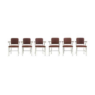 Midcentury Goodform Aluminum Armchairs by the General Fireproofing Co. - a Set of 6 For Sale