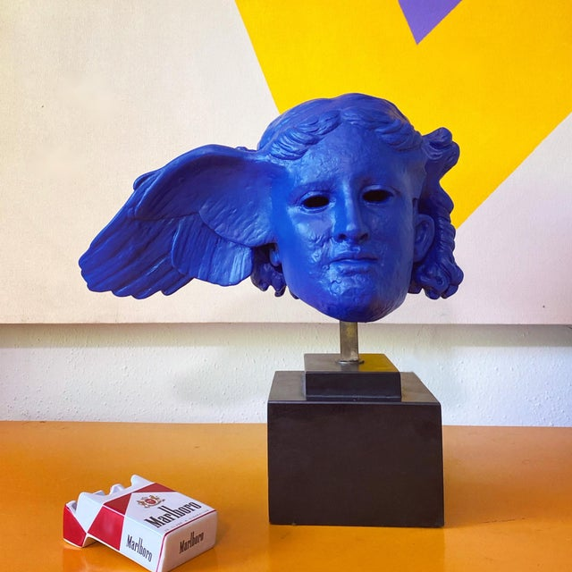 Vintage Neoclassical Greek Plaster Sculpture of Hypnos in Klein Blue For Sale In Portland, OR - Image 6 of 6