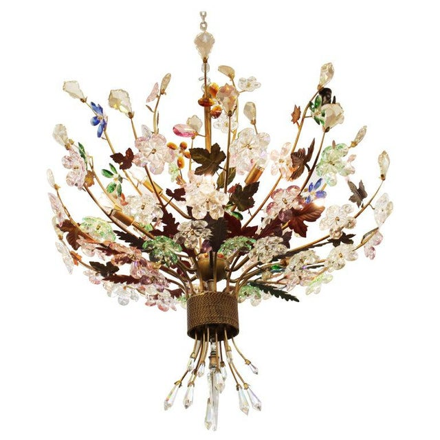 1970s Italian Mid-Century Modern Murano Glass Flower Bouquet Chandelier For Sale - Image 13 of 13