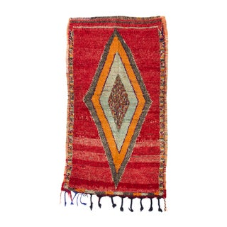 "Red Azilal Moroccan Berber Rug - 3'9"" X 6' For Sale"