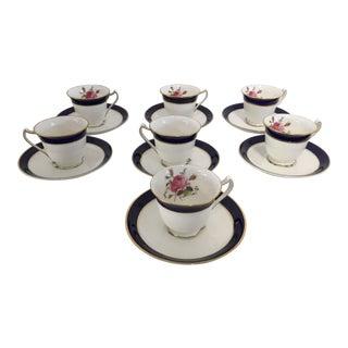 Vintage English Porcelain Demitasse Service - Set of 7 For Sale