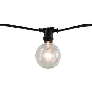 14' Decorative Outdoor String Lights with Clear Incandescent 11 Watt Globe Bulbs in Black For Sale