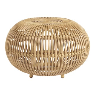 Shoreline Small Rattan Scatter Table, Beige For Sale