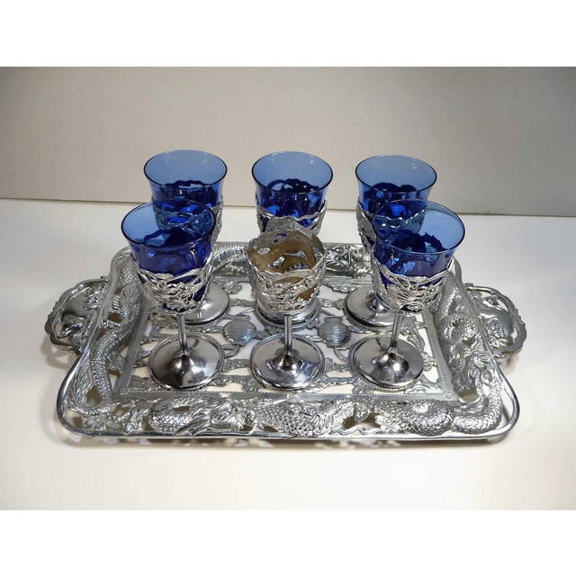 Vintage Asian Dragon Theme Chrome Tray With Matching Cobalt Cordial Glasses - Set of 7 For Sale - Image 10 of 11