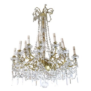 Early 20th Century French Dore' Bronze and Crystal Two Tier Chandelier For Sale