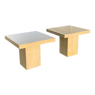 1980s Italian Travertine End Tables - a Pair For Sale