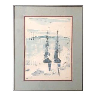 Modernist Sailboats Print by Birdsey For Sale