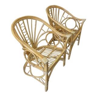 Circle Rattan Lounge Chairs - a Pair