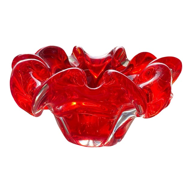 Mid Century Red Murano Dish For Sale