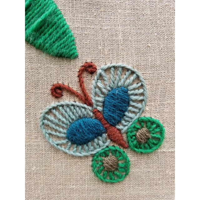 Mid-Century Modern Crewel Embroidered Wall Hanging For Sale - Image 9 of 11
