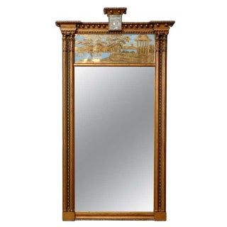 19th Century Regency Trumeau Mirror With Blue and Gold Outdoor Scene For Sale