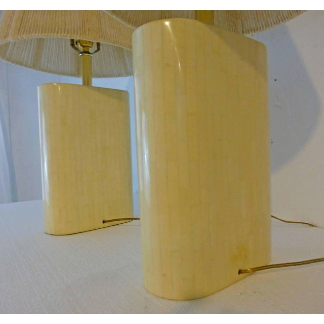 Karl Springer Tessellated Bone Lamps With Original Rope Shades - A Pair For Sale - Image 9 of 11