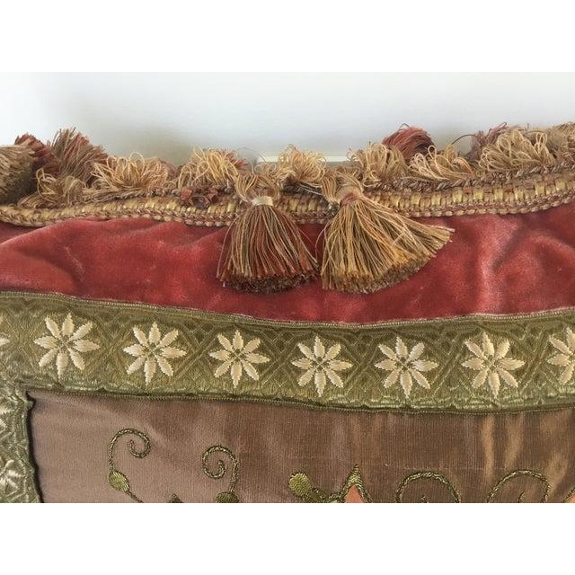 Embroidery Appliqué Silk Velvet Pillows - a Pair For Sale - Image 4 of 9