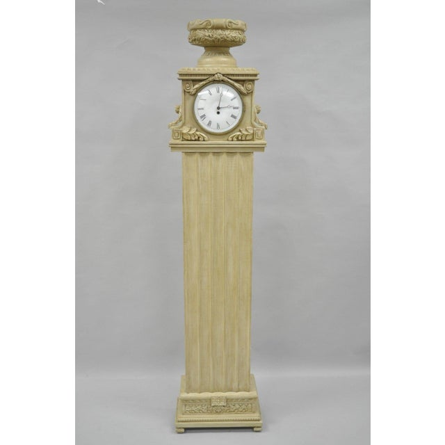 French Regency Empire Style Cream Painted Grandfather Case Standing Clock For Sale - Image 12 of 13