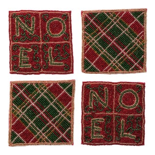 Beaded Plaid Noel Christmas Coasters - Set of 4 For Sale