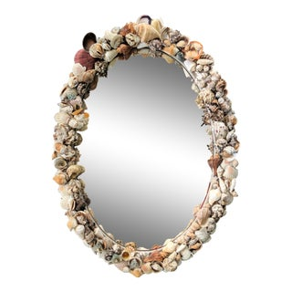 Oval Seashell Encrusted Mirror For Sale