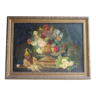 19th Century Painting of Flowers For Sale