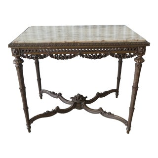 20th Century French Louis XVI Heavily Carved Marble Top Center Table For Sale