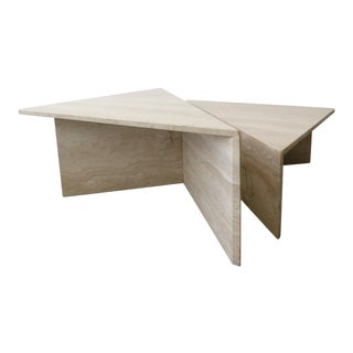 2 Piece Tiered Post-Modern Italian Travertine Coffee Table For Sale