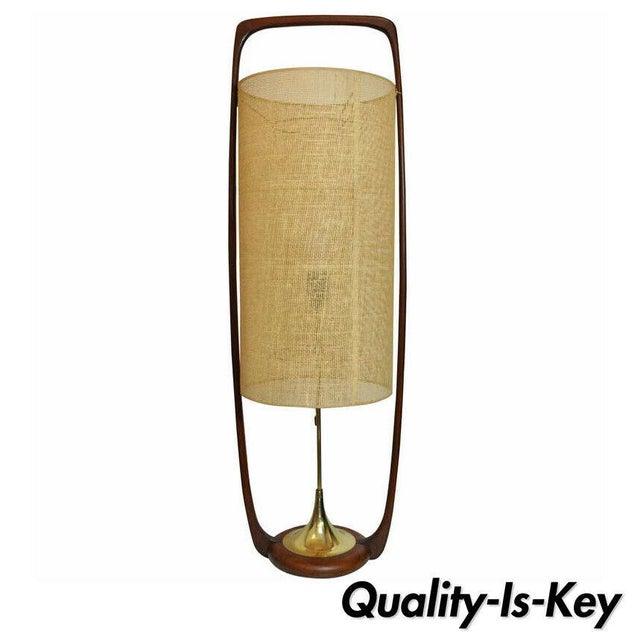 Large Mid-Century Danish Modern Sculpted Teak and Brass Table Lamp by Modeline For Sale - Image 11 of 11