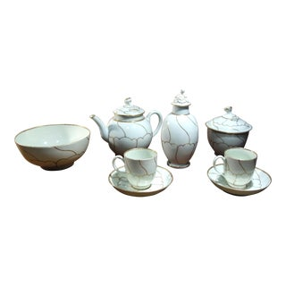 1775 First Period Worcester Tea Service 8 Pc. Set For Sale