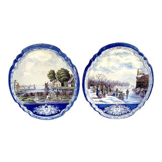 Large Antique Delft Topographical Wall Plaques -A Pair For Sale