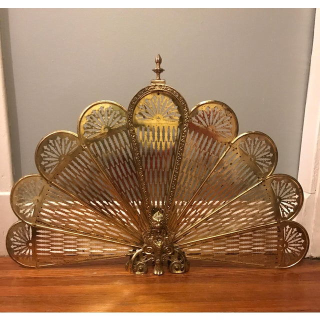 "Vintage Brass Peacock ""Phoenix"" Fireplace Screen - Image 4 of 6"