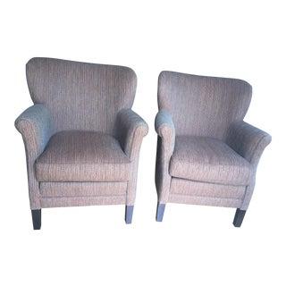 Tweed Wool Armchairs - A Pair